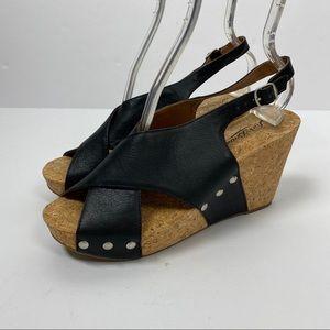 Lucky Brand Sandals 7.5 Black Cork Wedge Heel